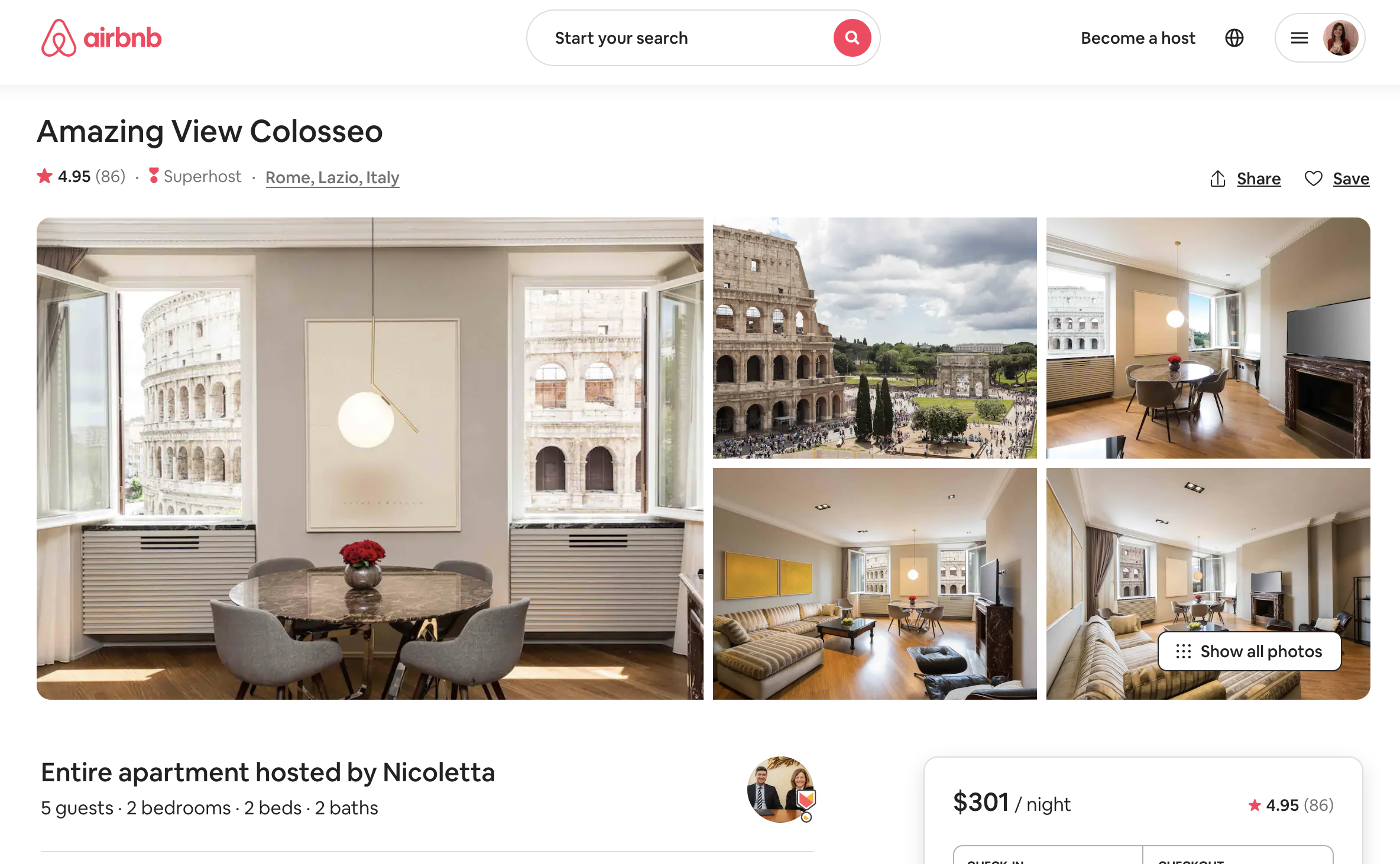 screenshot of the images page of an airbnb in Rome, Italy