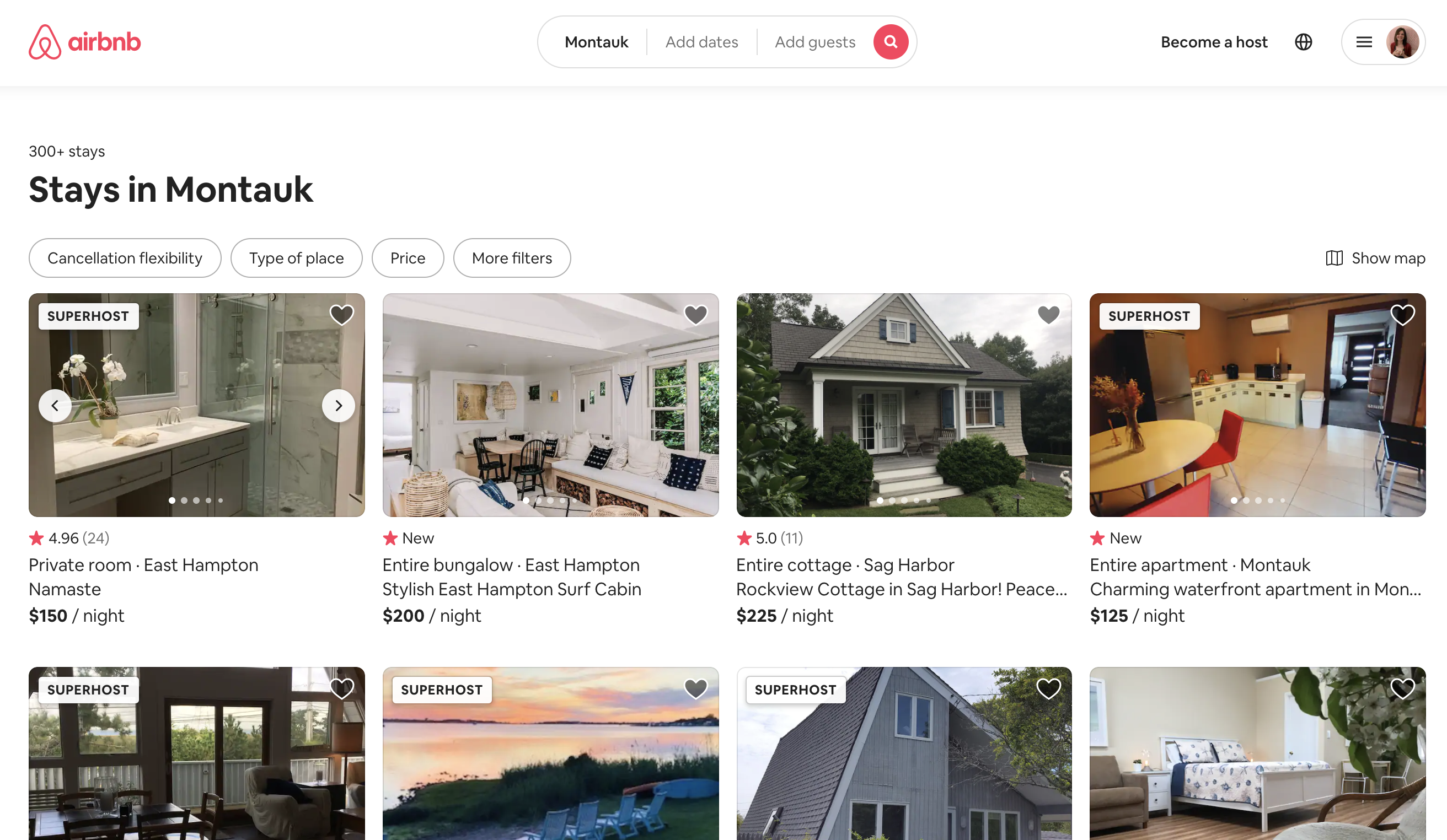 screenshot from Airbnb website showing new listing label on search page