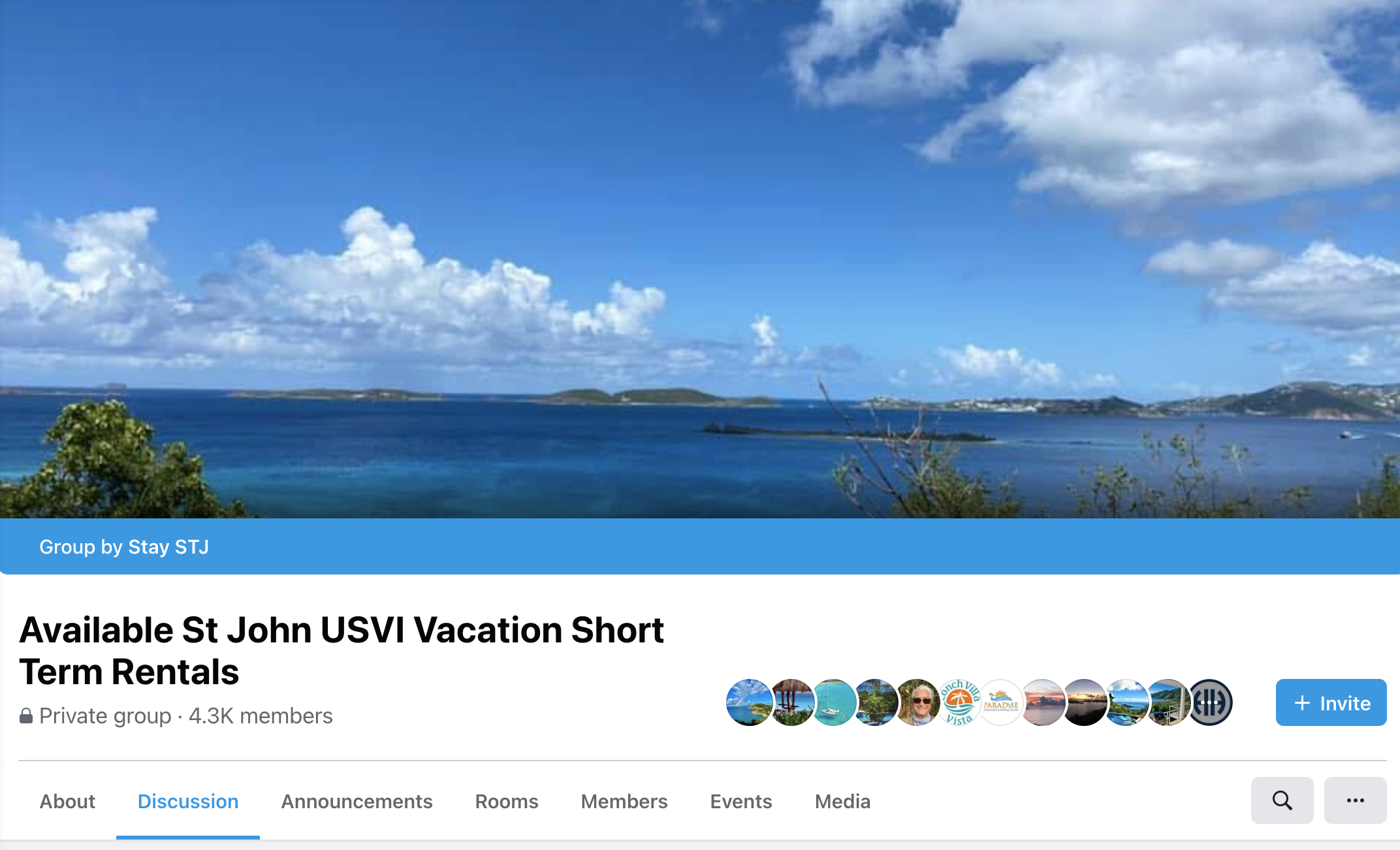 screenshot of an airbnb host group for rentals in St John, Virgin Islands, with more than 4 thousand members