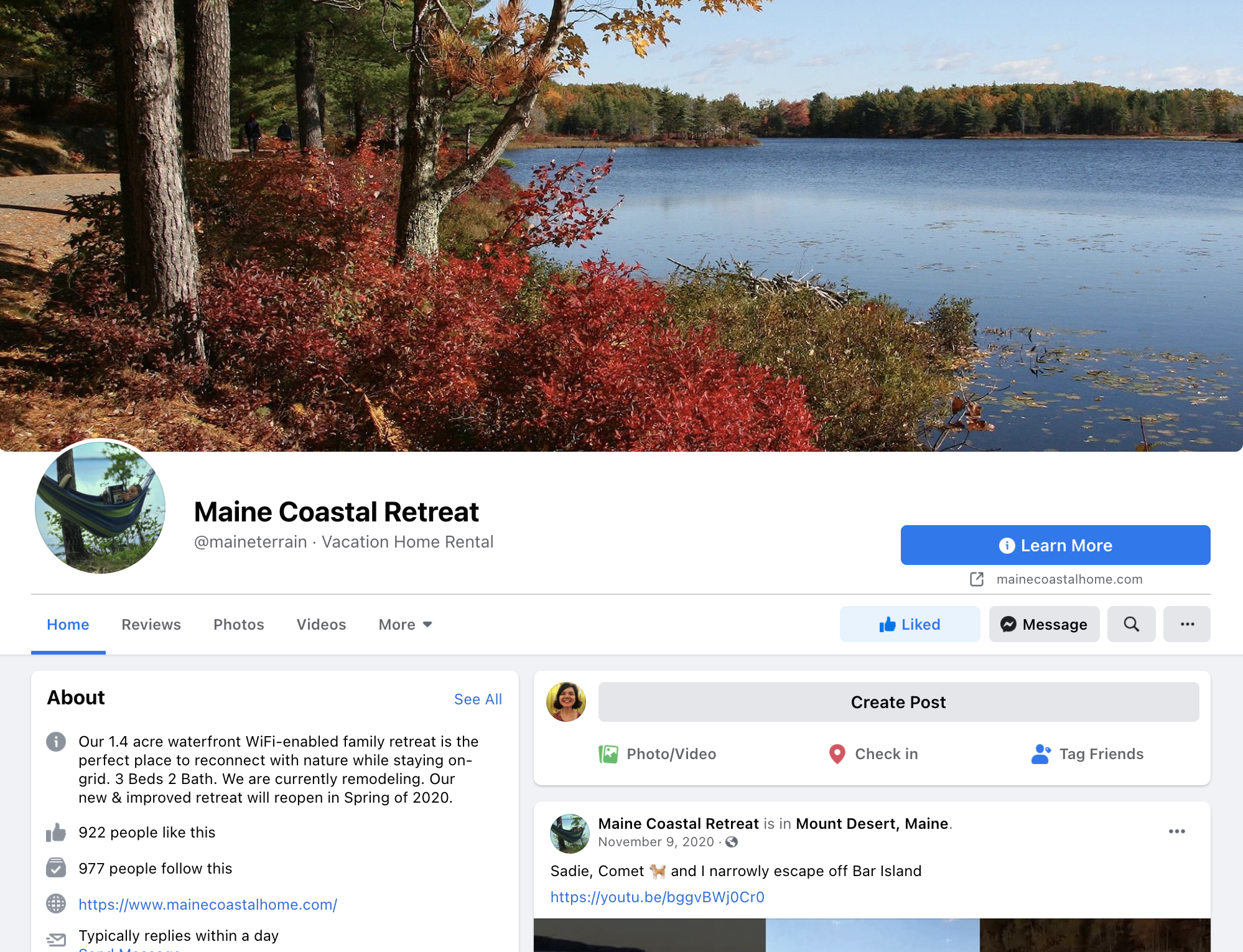 a sample facebook page for a vacation rental in Maine, US