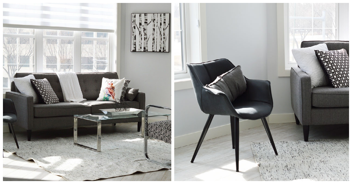 two images from the same room side by side. left image showing the entire couch with a slice of the armchair next to it. the right image focused on the armchair, with the couch peeking from the right side