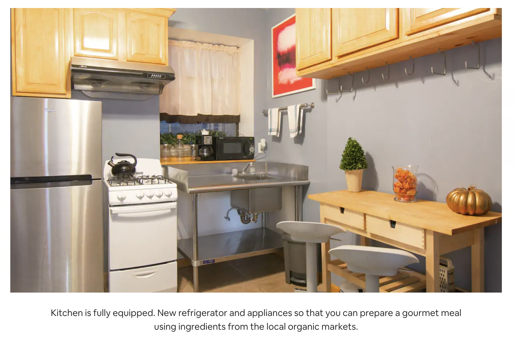 a kitchen photo on airbnb website with following caption: kitchen is fully equiped. new refrigirator and appliances so that you can prepare a gourmet meal using ingredients from the local organic markets