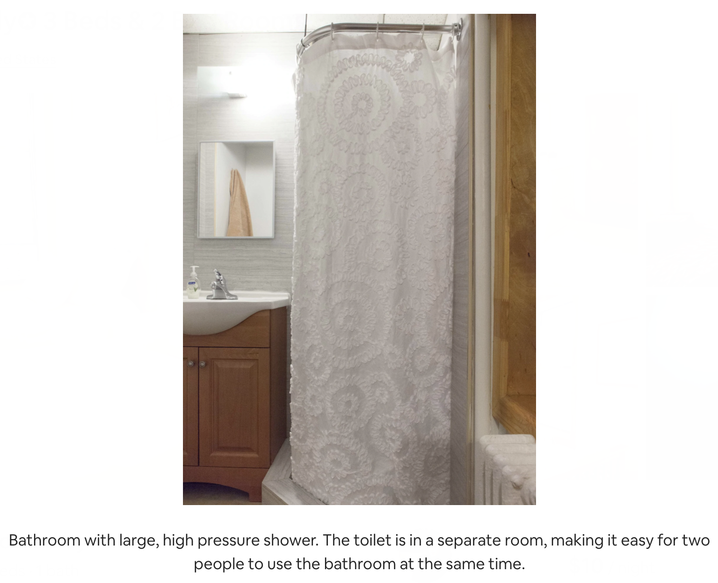a shower photo from the airbnb website with the following caption: Bathroom with large, high pressure shower. The toilet is in a separate room, making it easy for two people to use the bathroom at the same time