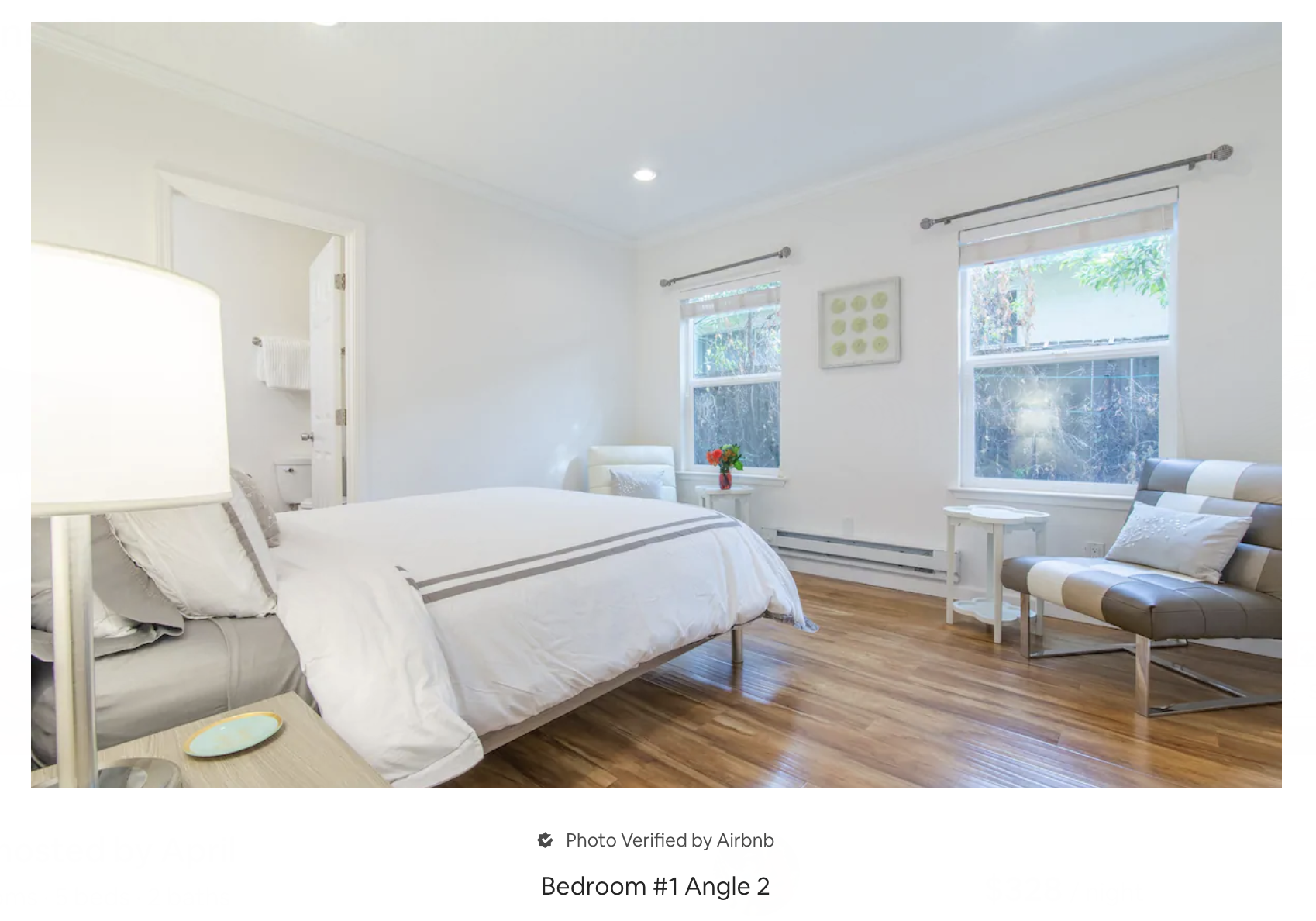 an airby bedroom photo from airbnb website, with the following caption: bedroom  number 1 angle 2