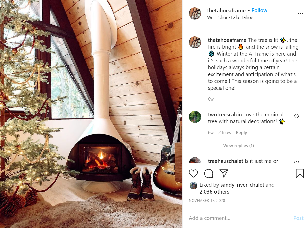 screenshot from an airbnb Instagram page showing a cozy fireplace with many favorable comments from viewers