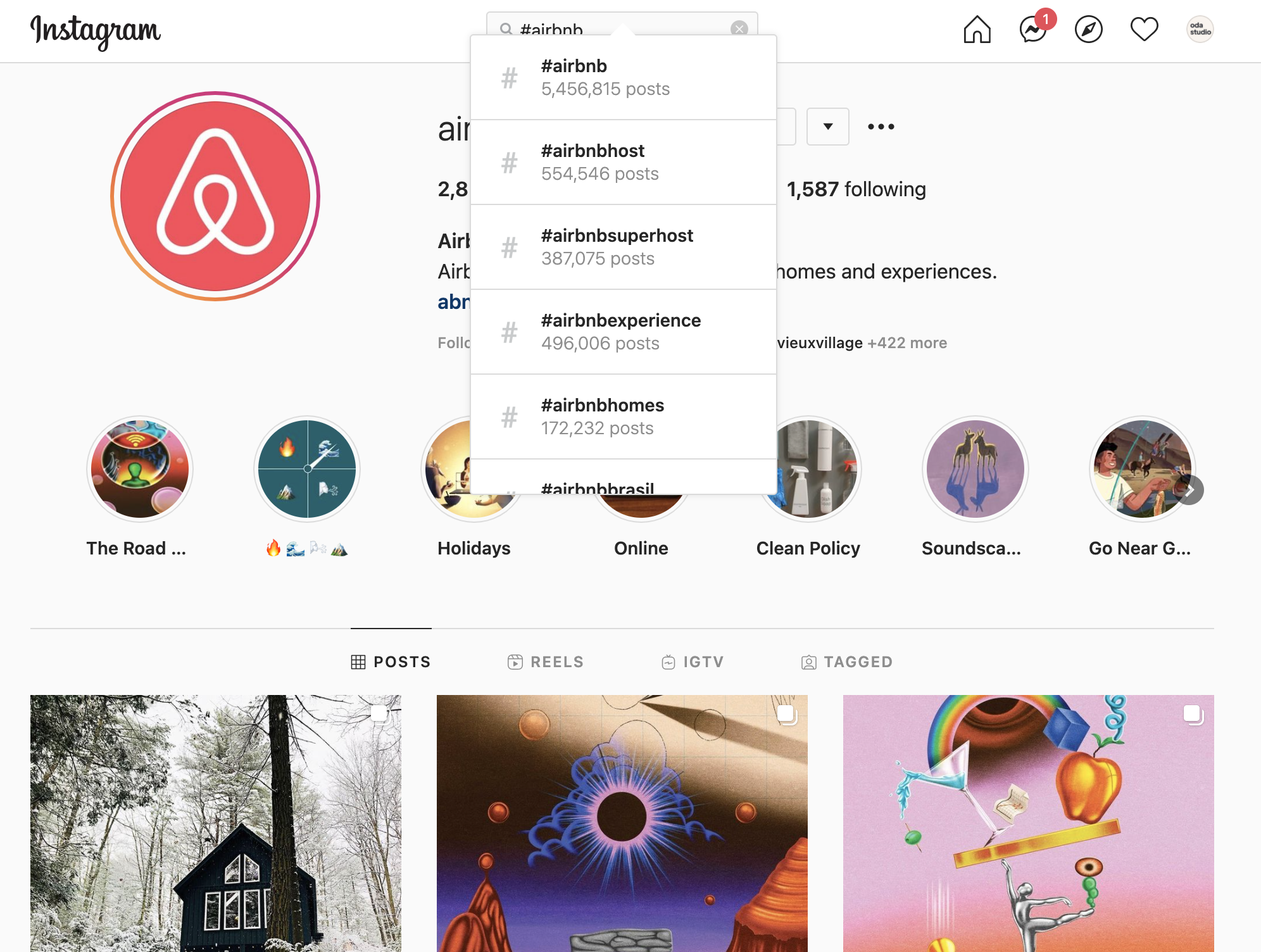 screenshot from instagram search to show the most popular vacation rental hashtags such as #airbnb #airbnbhost #airbnbsuperhost